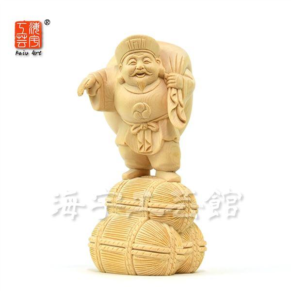 木彫り仏像 【招き大国様(大黒天)】 檜(ヒノキ) 立2.5寸 総高14.5cm