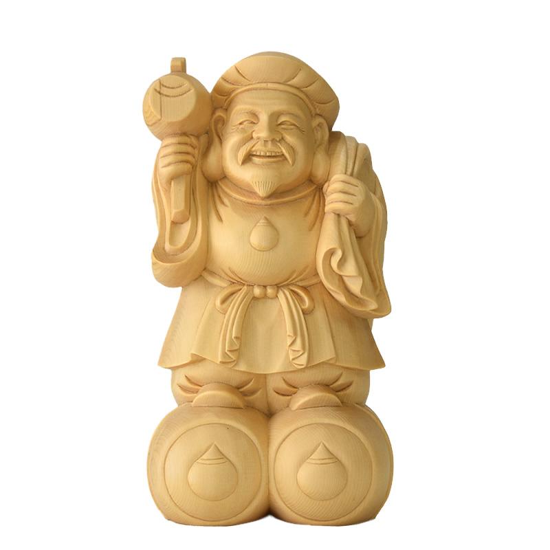 木彫り仏像 桧木【大黒尊天(大黒天)】 総高19.5cm