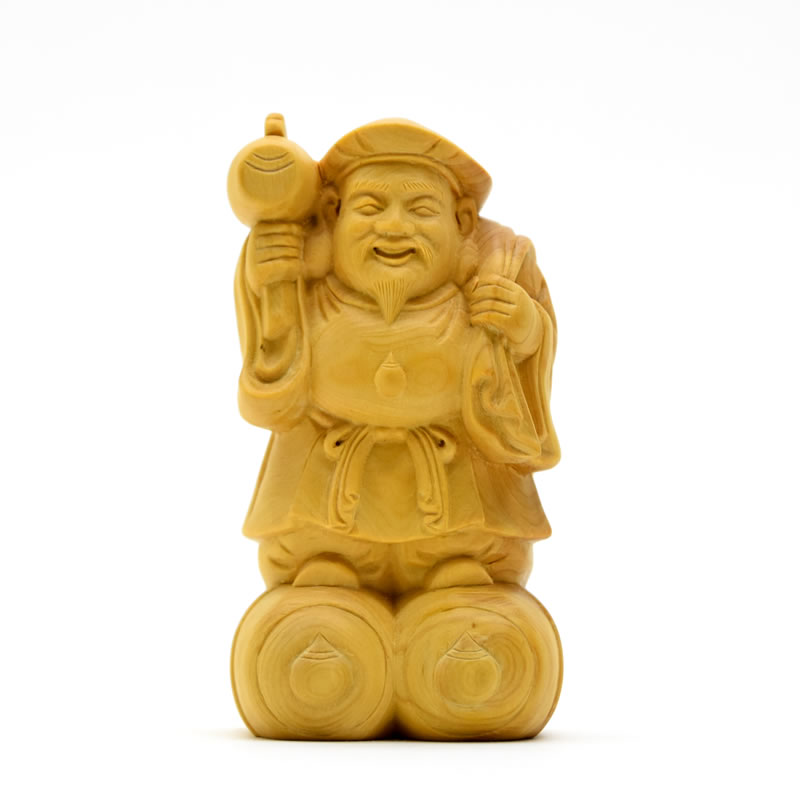 木彫り仏像 【大黒天(大黒尊天)】 柘植 高さ10cm