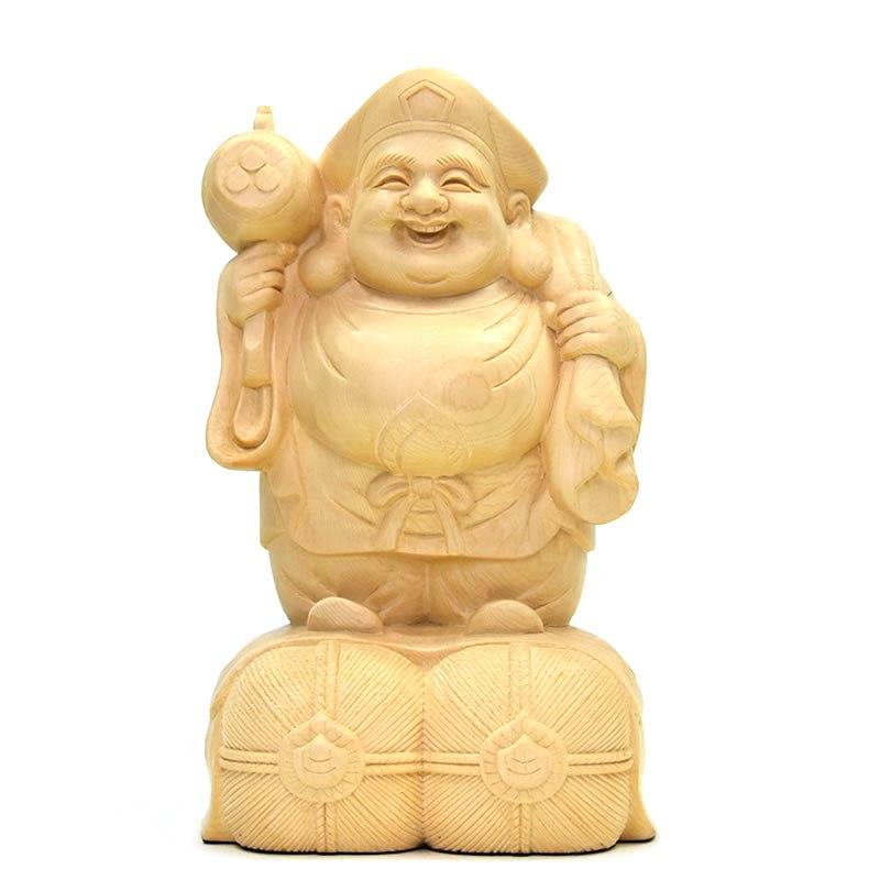 木彫り仏像 桧木【大黒天】 総高20cm 【開運・招福・商売繁盛・家内安全】