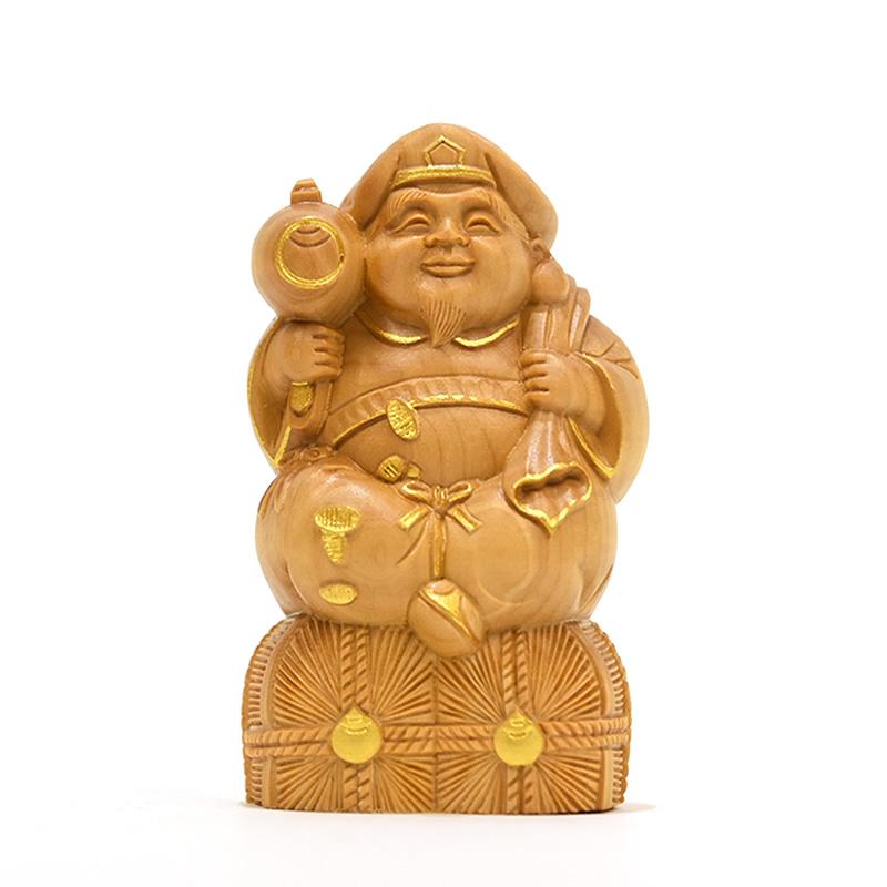 木彫り仏像 小仏-七福神之【大黒天】 柘植 金泥仕様き 高さ8.1cm