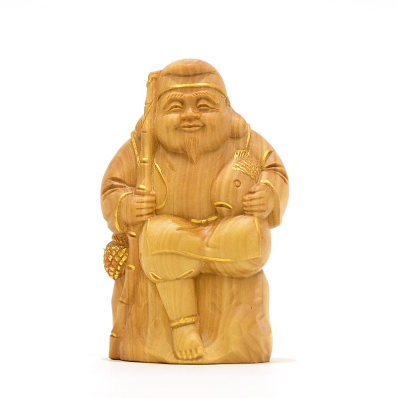 木彫り仏像 小仏-七福神之【恵比須】 柘植 金泥仕様 高さ8.5cm