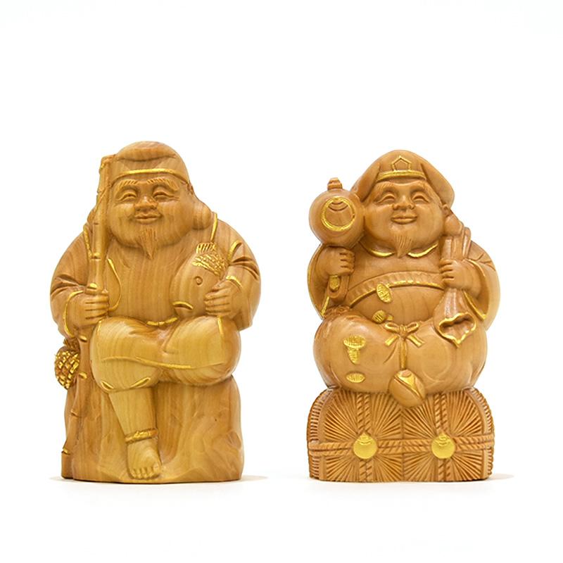 木彫仏像 小仏-【恵比須・大黒天】セット 柘植 金泥仕様 高8.5cm