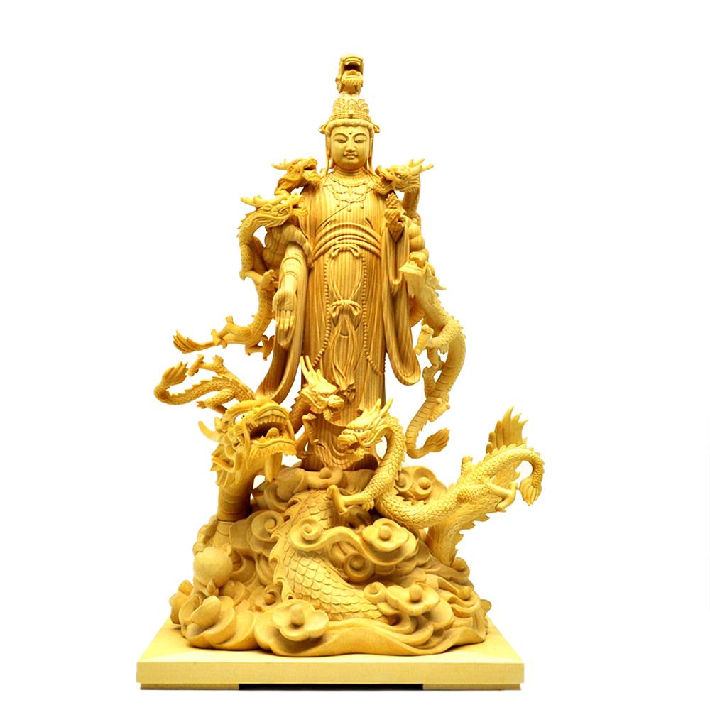 木彫り仏像 【八大龍王】 檜(ヒノキ) 立像9.0寸 総高50cm ※ご注意:代金引換は対応できません。