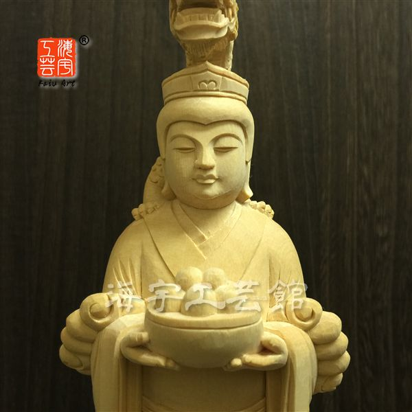 木彫り仏像 【八大龍王筆頭--難陀龍王】 檜(ひのき) 立6.5寸 総高30cm