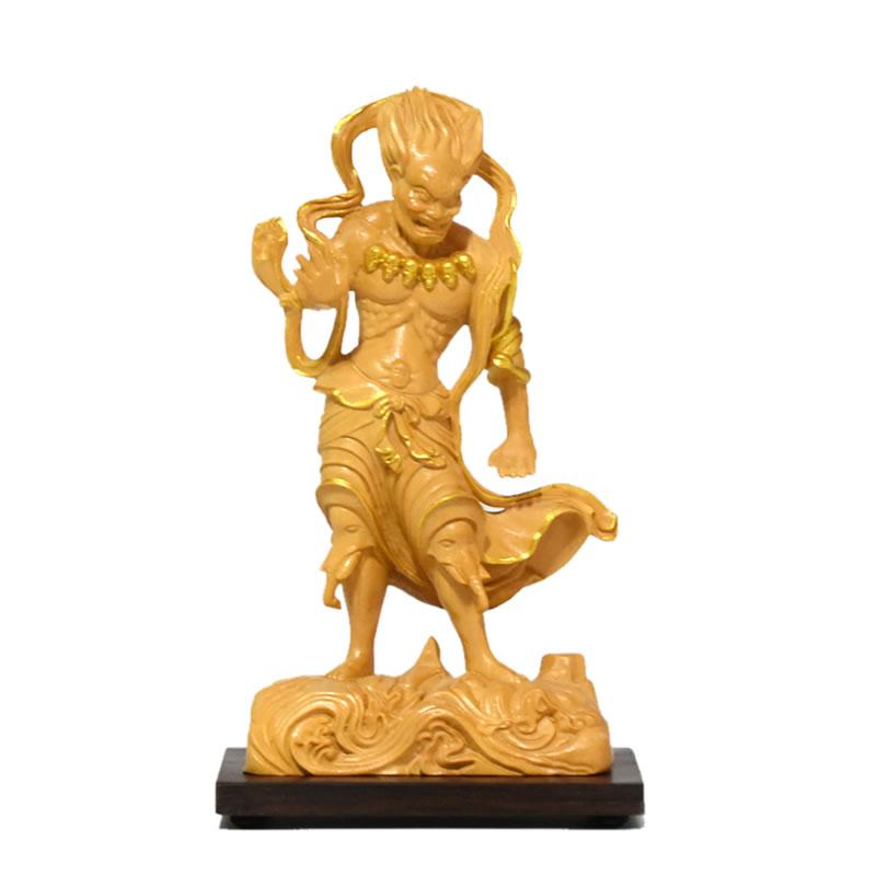 木彫り 仏像 小仏 金剛峯寺形【深沙大将(ジンジャタイショウ)立像】 柘植(ツゲ)金泥仕様