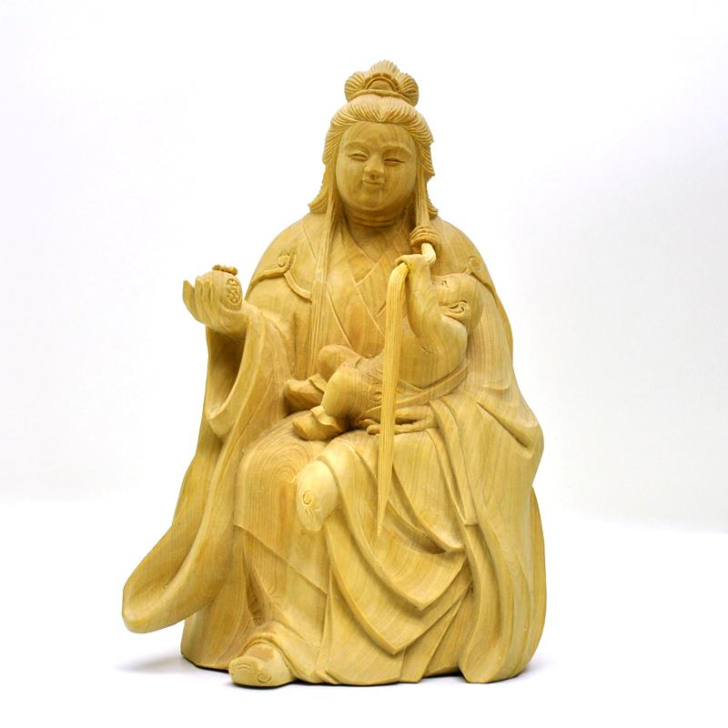 模造作品 木彫り仏像 ★柘植園城寺形【訶梨帝母(鬼子母神)倚像】 高約16cm