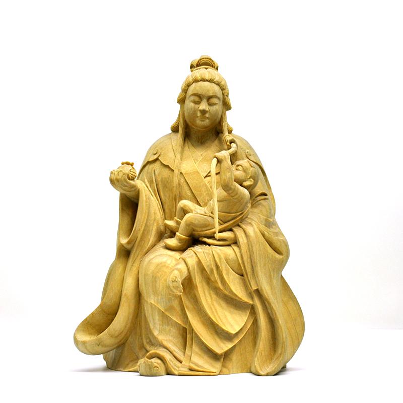 木彫り仏像 楠木園城寺形【訶梨帝母(鬼子母神)倚像】 高約24cm