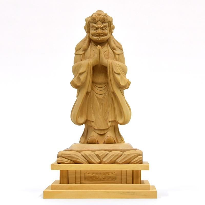 木彫り仏像 【中山鬼子母神立像】 柘植(つげ) 立5.0寸 総高約23cm 【日蓮宗】脇仏