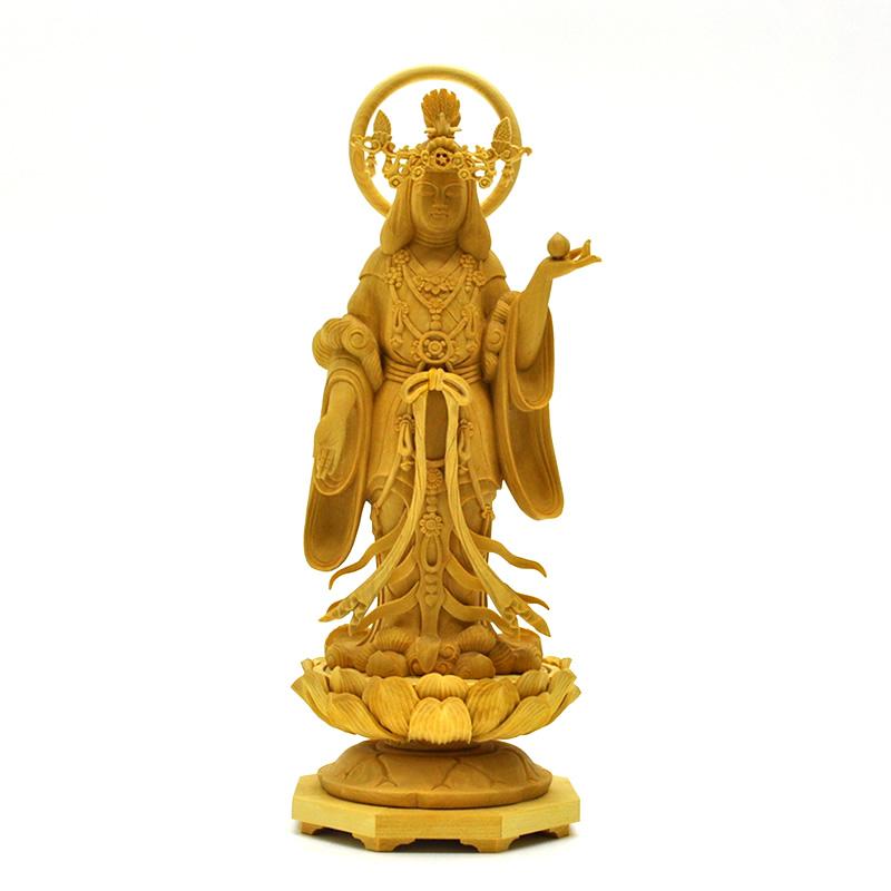 木彫り仏像 【浄瑠璃寺形吉祥天立像】 柘植 総高20cm