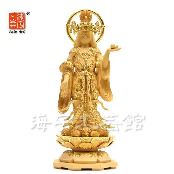 木彫り仏像 浄瑠璃寺形【吉祥天立像】 桧木 切金 総高29cm