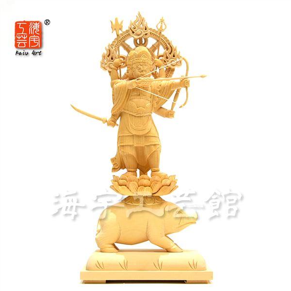 木彫り仏像 【摩利支天立像】 桧 立3.5寸 総高約27cm
