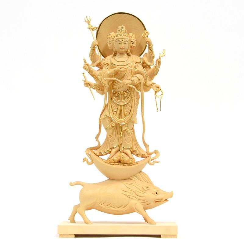 木彫り仏像 【摩利支天立像】 桧木製 切金仕上げ 立6.0寸 総高35cm   ※ご注意:代金引換は対応できません。