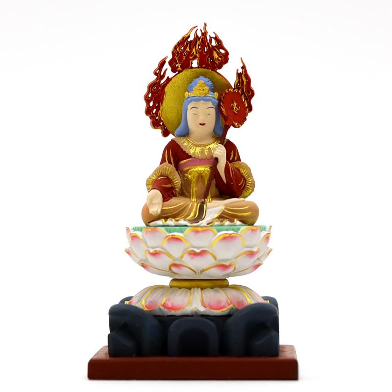 【小仏】シリーズ 【摩利支天座像】 柘植 極彩色 総高約10.5cm 木彫り 本格ミニ仏像