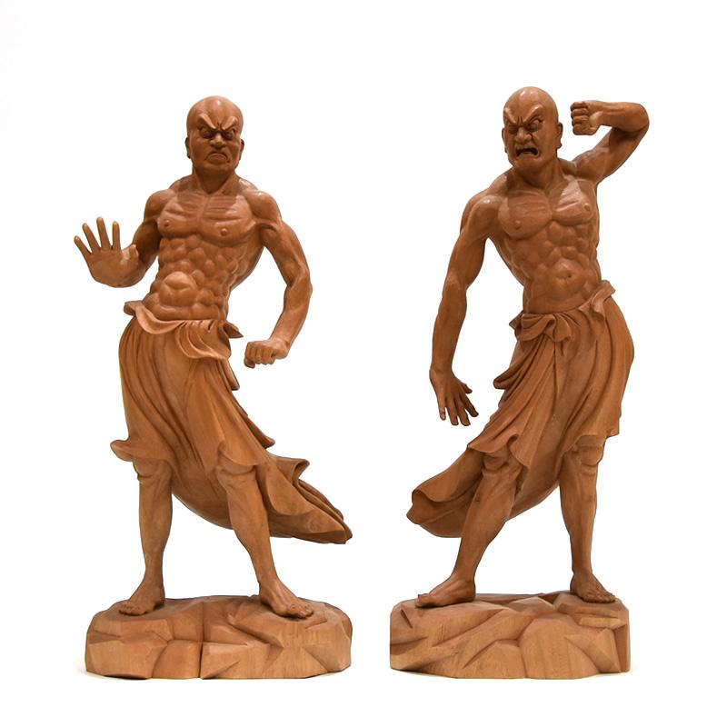 木彫り仏像 ★夏瑞分作 【興福寺形金剛力士立像阿吽セット】 楠木 高さ34cm