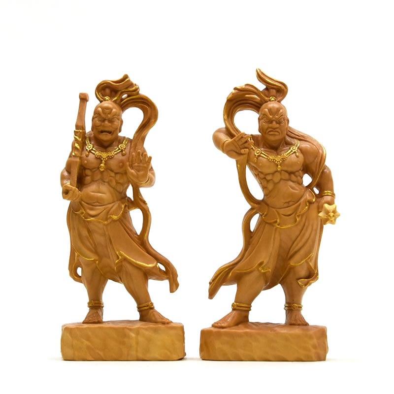 木彫り仏像 【仁王像(金剛力士)】 柘植(つげ) 金泥仕様 総高12cm
