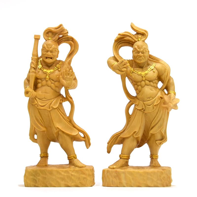 木彫り 仏像 【仁王像(金剛力士)】 柘植(つげ) 金泥仕様 総高9cm ※桐箱付き