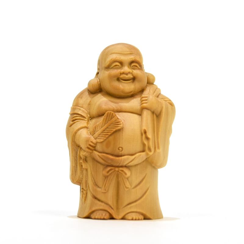木彫り仏像 柘植七福神セット 高5.5cm (恵比須・大黒天・毘沙門天・弁財天・福禄寿・寿老人・布袋)
