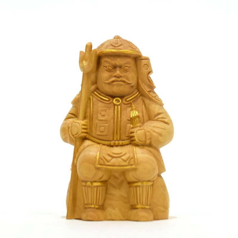 木彫り仏像 小仏-七福神之【毘沙門天】 柘植 金泥仕様 高さ7.8cm