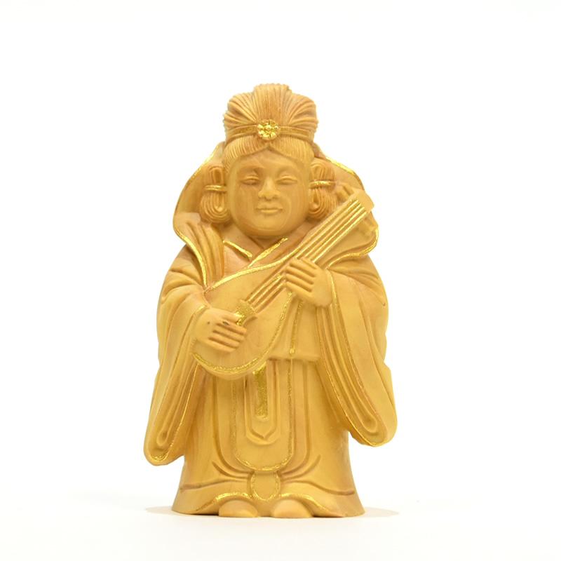 木彫り仏像 小仏-七福神之【弁財天】 柘植 金泥仕様 高さ8cm