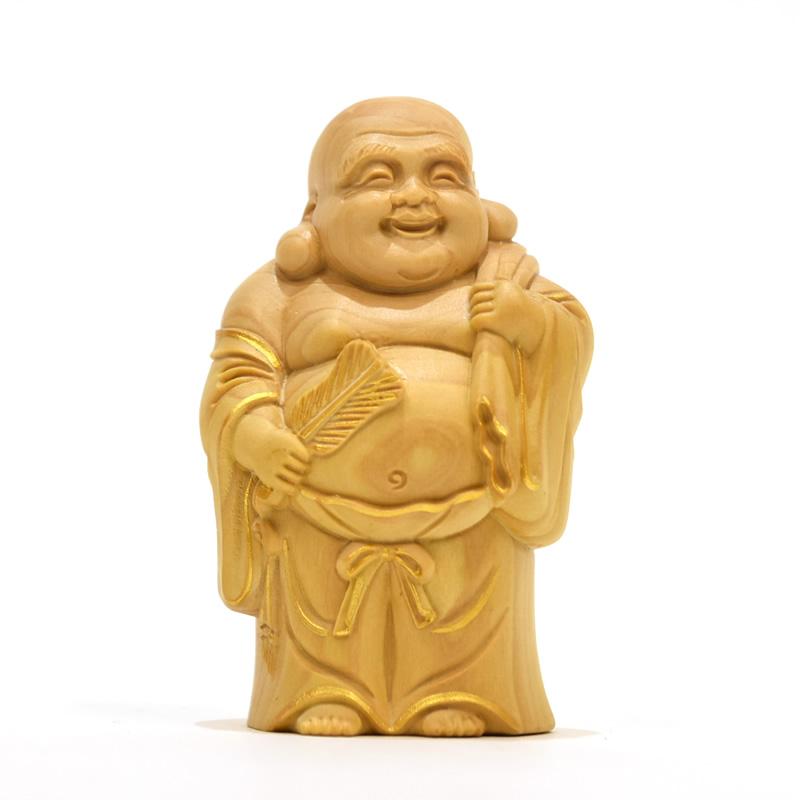 木彫り仏像 七福神之【布袋】 柘植 金泥付 高さ7.9cm