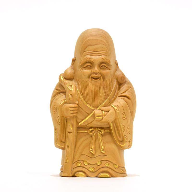 木彫り仏像 小仏-七福神之【寿老人】 柘植 金泥仕様 高さ8.5cm