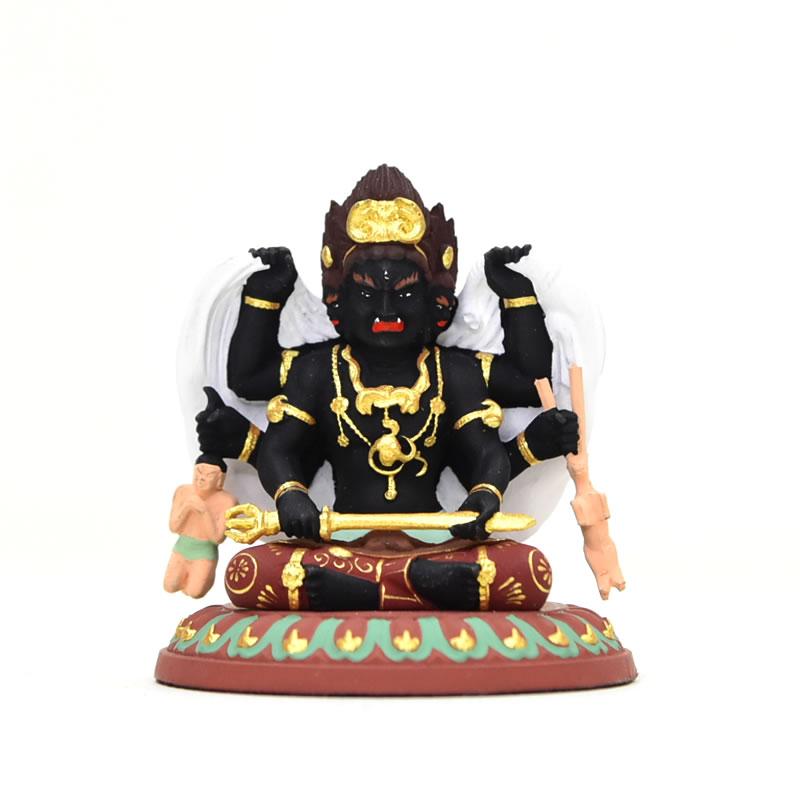 【摩多利神(忿怒三面大黒天)】 柘植(ツゲ) 極彩色 総高5.6cm 木彫り 本格ミニ仏像