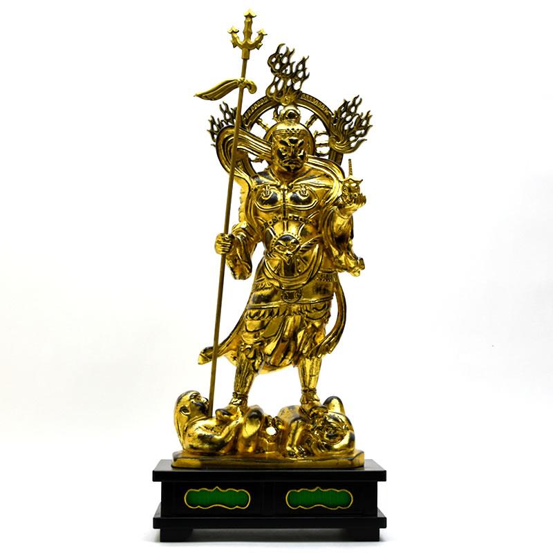 木彫り仏像 【毘沙門天立像】 楠木 金彩 立1.25尺 総高約73.5cm ※ご注意:代金引換は対応できかねます。