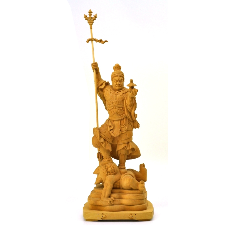 木彫り仏像 【毘沙門天像】 檀木(ダンモク) 立5.0寸 「四天王之多聞天」