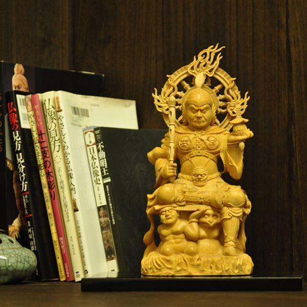 木彫り仏像 夏瑞分作 【極上彫毘沙門天半跏像】 柘植 総高29cm ※代引不可※