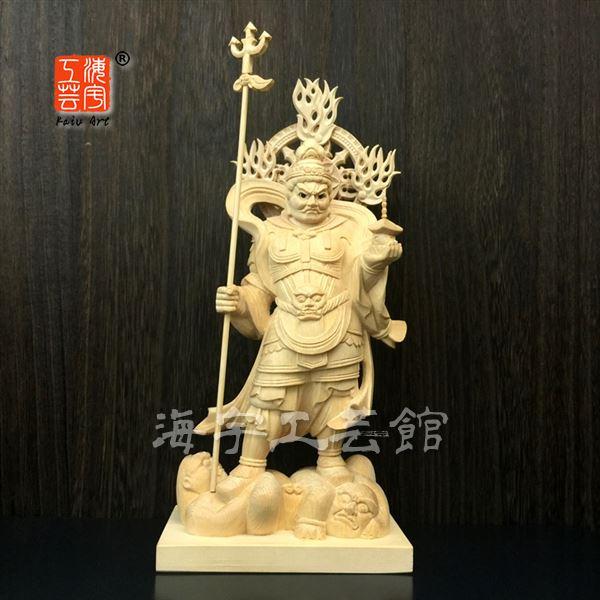 木彫り仏像 【毘沙門天立像】 桧木眼入 立5.0寸