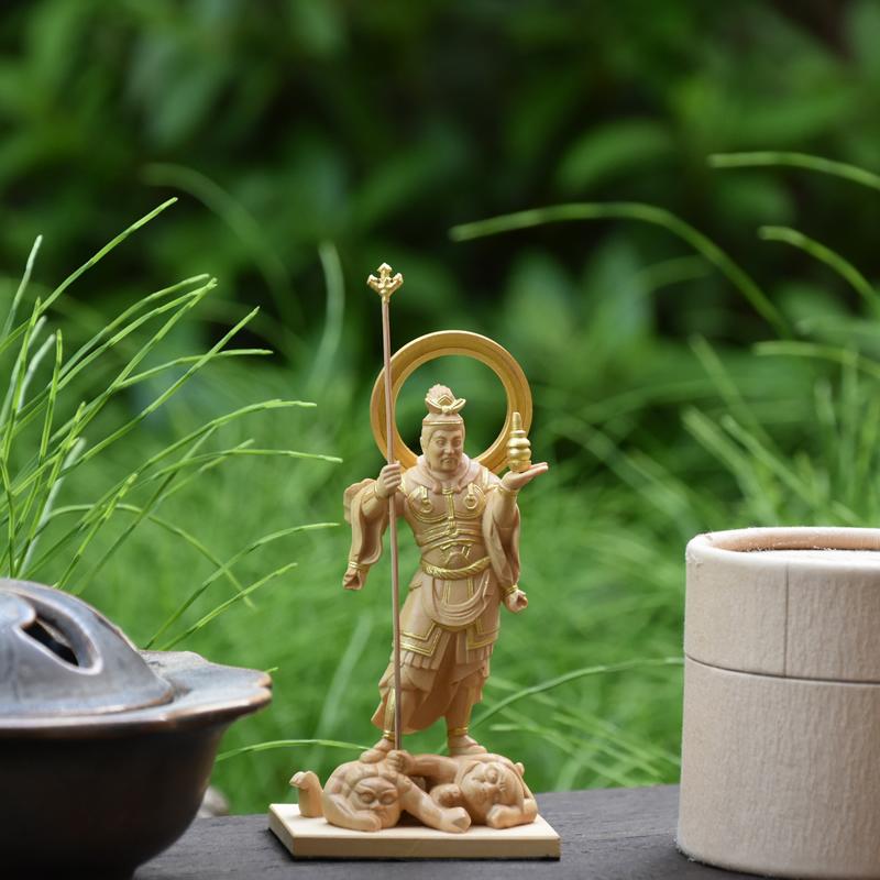【小仏】シリーズ 願成就院形【毘沙門天像(四天王之多聞天)】 柘植金泥付 総高約12.5cm 本格ミニ仏像
