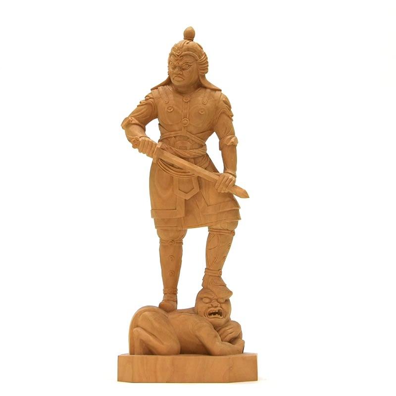 木彫り仏像 四天王之【持国天】立像 柘植 立5.0寸 総高21.5cm