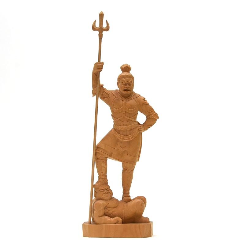 木彫り仏像 四天王之【増長天】立像 柘植 立5.0寸 総高27.5cm