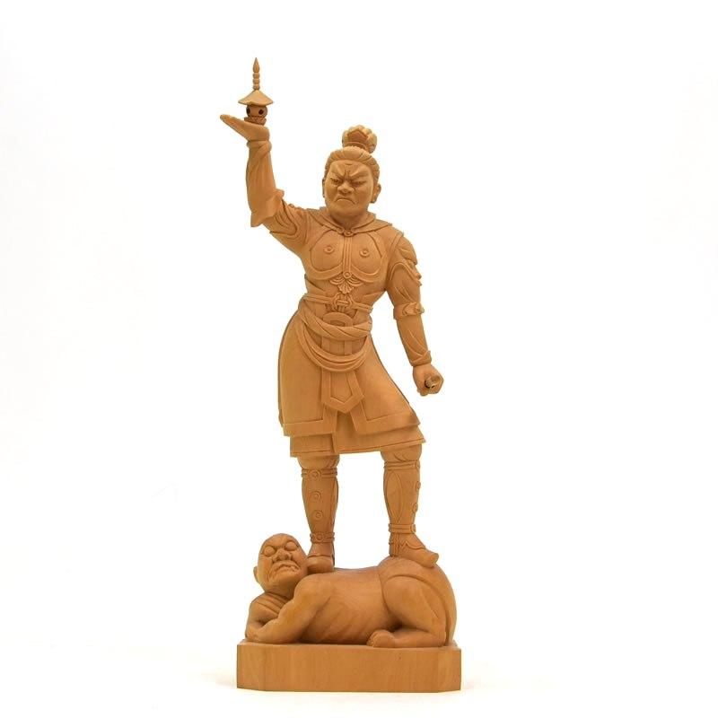 木彫り仏像 四天王之【多聞天】立像 柘植 立5.0寸 総高23.8cm