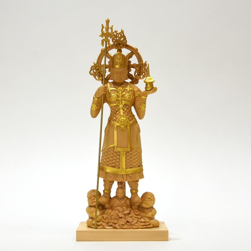 木彫り仏像 柘植【兜跋毘沙門天立像】 立5.0寸 金泥仕様 総高25cm