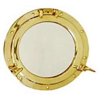 真鍮製 丸窓 鏡L