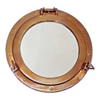 真鍮製 丸窓 ガラスL アンティーク加工