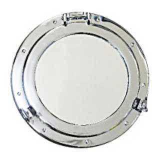 真鍮製 丸窓 鏡L ニッケルメッキ加工