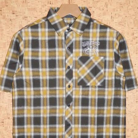SUBCIETY [サブサエティ] 半袖シャツSBF1492 EMBROIDERY CHECK SHIRT S/S -LIFE IS SHORT-