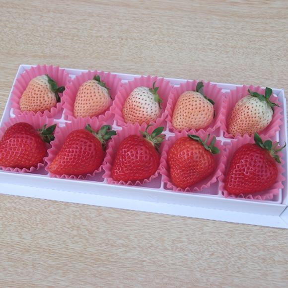 福岡産紅白いちごあまおう&白いちご10粒ギフト
