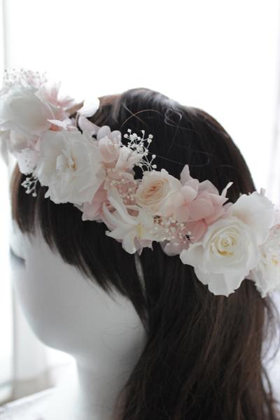 【プリザーブドフラワー 花冠】【ウエディングヘッドドレス】アニー*結婚式/披露宴/二次会/