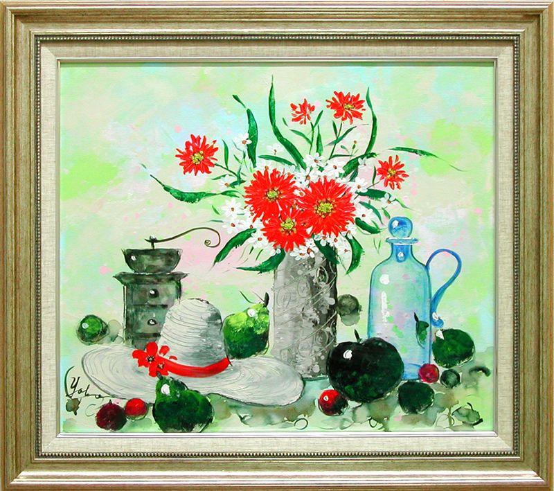 絵画 油絵 花のある静物 (加瀬洋子) 送料無料 【肉筆】【油絵】【花】【10号】