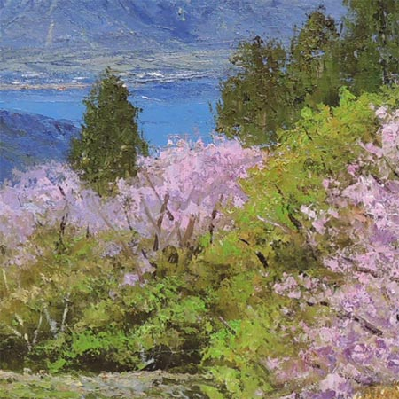 Painting oil painting Mount Fuji and Sakura (male Hisashi Ogawa)