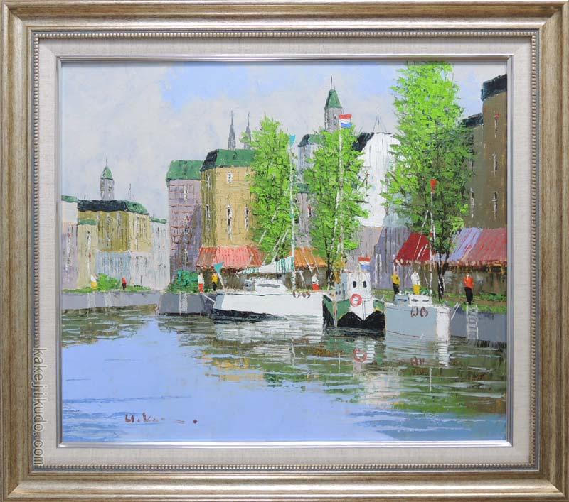 絵画 油絵 運河のある街(アムステルダム) (黒沢久) 送料無料 【肉筆】【油絵】【外国の風景】【10号】