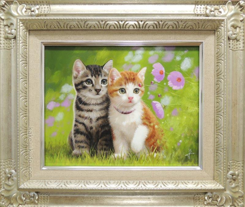 絵画 なかよし (長岡卓) 送料無料 【肉筆】【油絵】【静物・動物画】【3・4号】