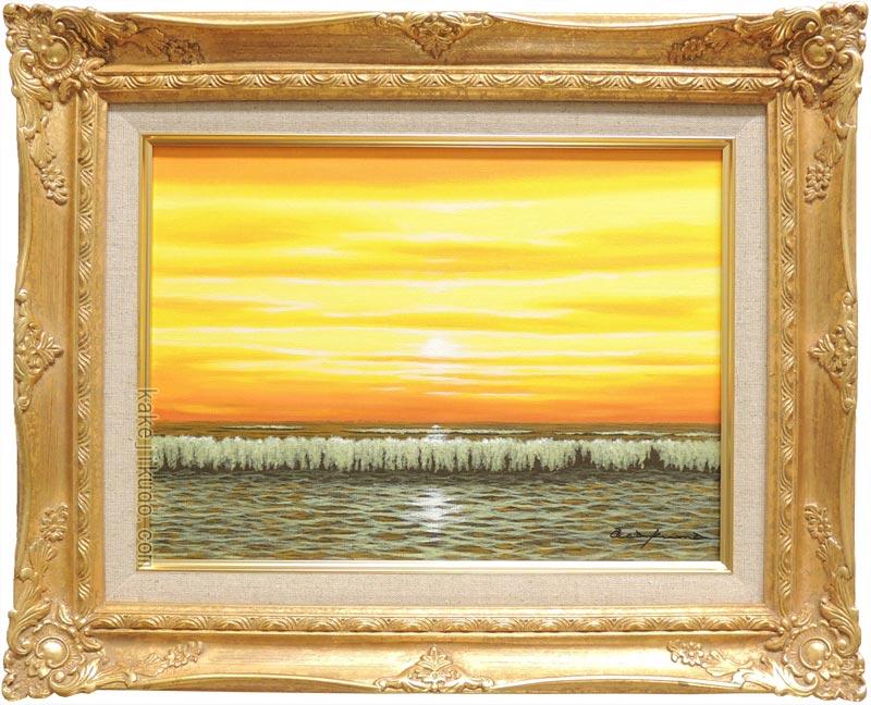 絵画 朝焼けの海 (朝隈敏彦) 送料無料 【海・山】【肉筆】【油絵】【富士】【3・4号】
