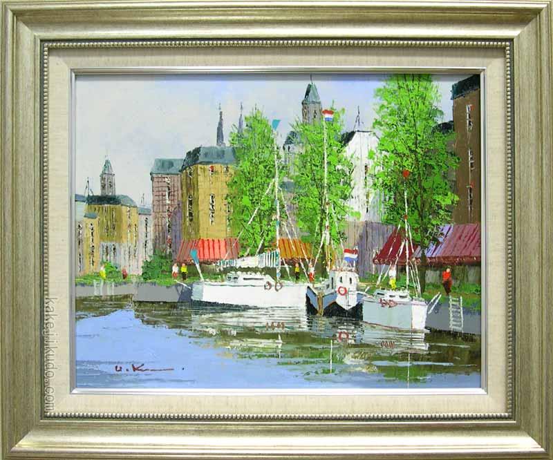 絵画 油絵 運河のある街(アムステルダム) (黒沢久) 送料無料 【肉筆】【油絵】【外国の風景】【6号】