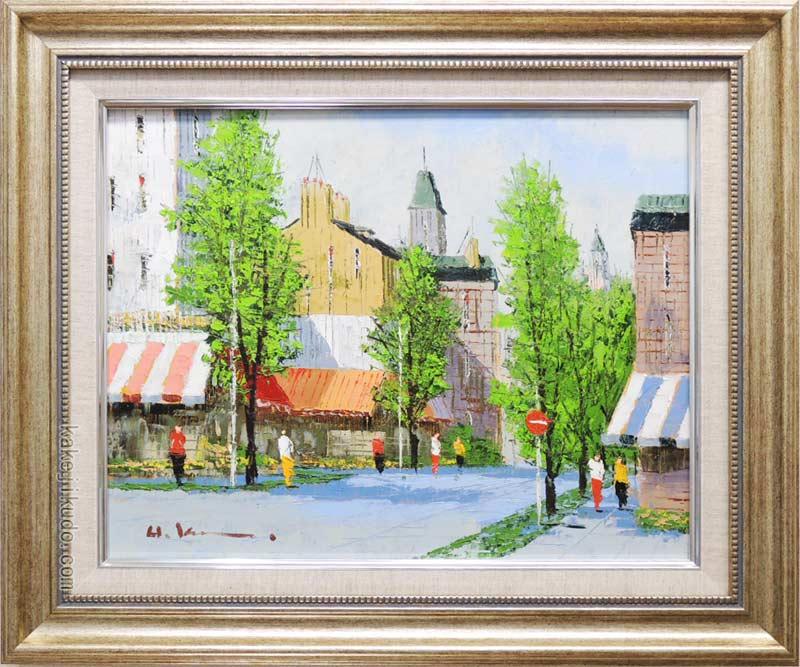 絵画 油絵 並木路のある街(フランス・ラマルク) (黒沢久) 送料無料 【肉筆】【油絵】【外国の風景】【6号】