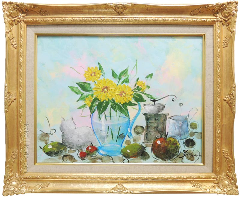 絵画 油絵 花のある静物 (加瀬洋子) 送料無料 【肉筆】【油絵】【花】【6号】